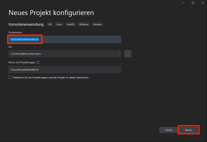 Projekt Konfiguration Projektname