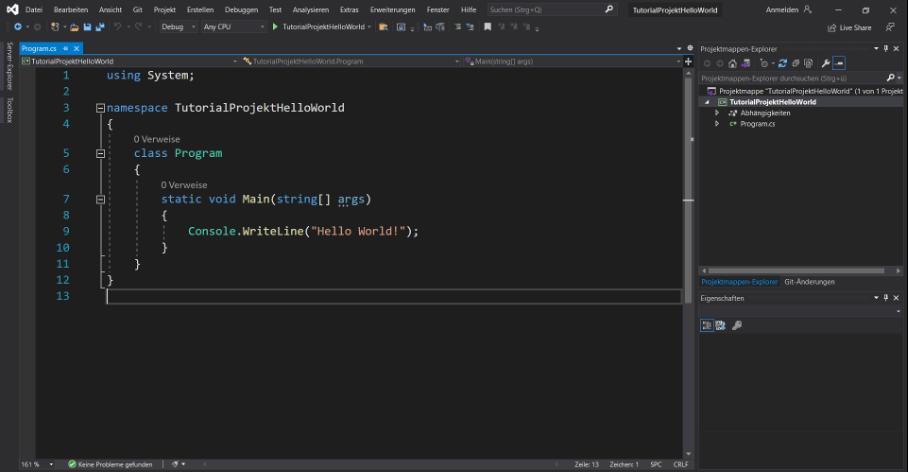 übersicht code editor