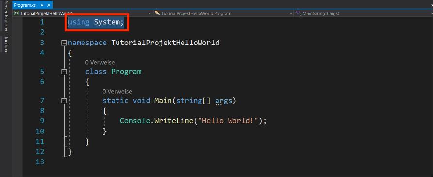 c# programmieren using system