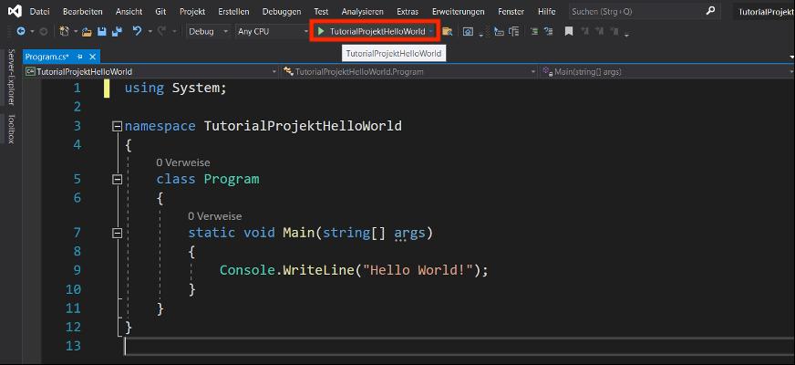 C# Programm ausführen