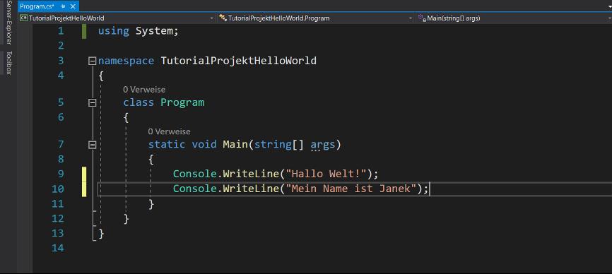 c# programmieren zweite console writline methode