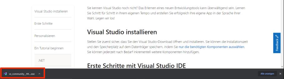 visual studio installations assistent öffnen