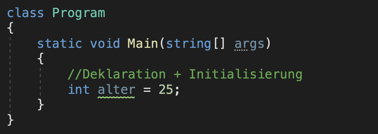deklaration + initialisierung einer c# variable mit c# datentyp int