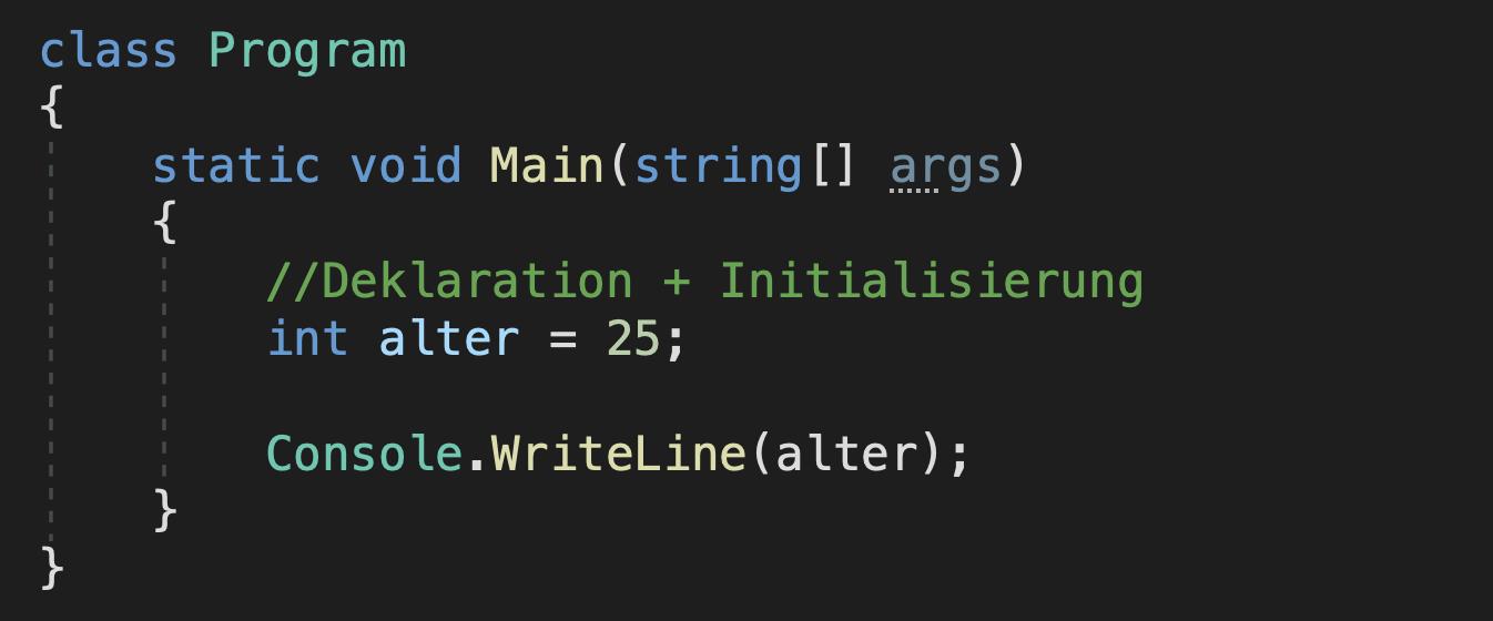 variablen im programm verwenden