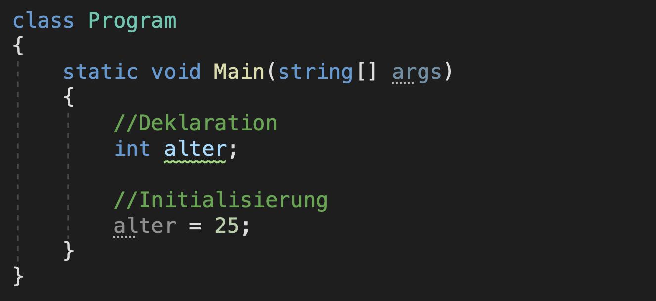 initialisierung einer c# variable