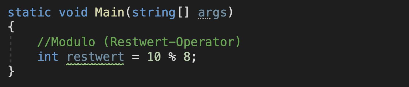 c# operatoren modulo beispiel
